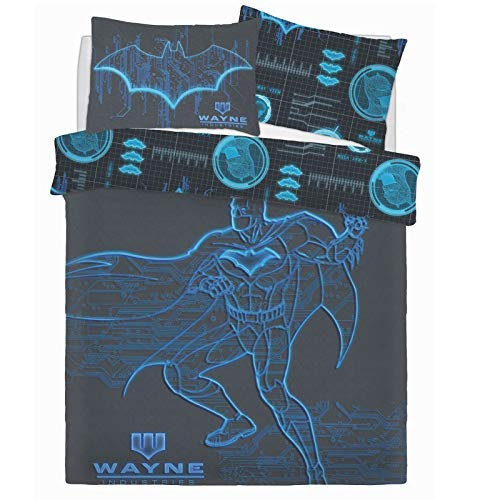 Batman Wayne Branchen Dc Comics Blau Panel Bettdecke Set Bett Wende Bettbezug Kissenbezug Warner Brothers Bettwäsche - Double