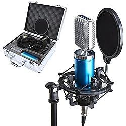 Micrófono Kit, Crenova MC-07 Micrófono Profesional de Diafragma Dinámica Vocal Difusión de Estudio Grabación Condensador Kit de Micrófono (Micrófono de Diafragma + Soporte Anti-vibración Metálico para Micrófono + Máscara Filtro Anti-chasquidos + Cable de Audio + Funda de Aluminio)