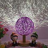 8Eninife Lampe de Chevet Boule de rotin Romantique avec Base en Bois décoration de Bureau Table de Chevet