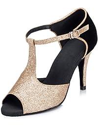 Honeystore Damen's T-Riemen Glitter Pfennigabsatz Latein Tanzschuhe Gold 36 EU
