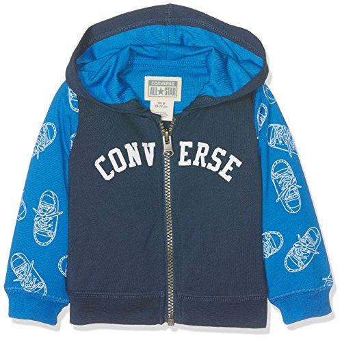 Toddler Full Zip Hoodie (Converse Baby-Mädchen Jogginganzug Printed Full-Zip Hoodie Blue (All Star Navy), 6-9 Monate)