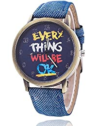 CLWD Quote Print Dial Blue Denim Strap Analog Watch For Women, Girls