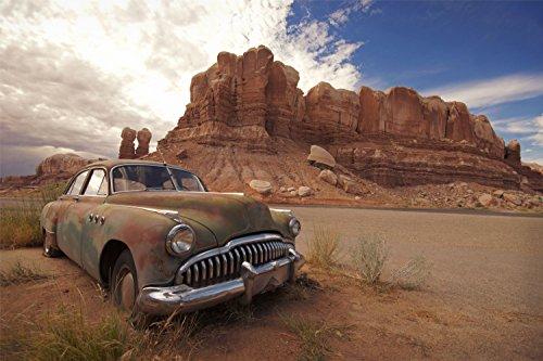 Auto Wrack Nevada Wüste Felsen XXL Wandbild Kunstdruck Foto Poster P0893 Größe 150 cm x 100 cm -