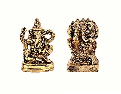 purpledip Rare Miniatur Statue Set (Siddhi vinayaka Ganesha & Panchmukhi Ganesha): Einzigartiges Sammlerstück Geschenk (11182) (Metallic-breite Schreibtisch)