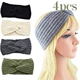 Factorys 4er Crochet Turban Stirnband Haarband für Frauen Warmes, sperriges, gehäkeltes Stirnband