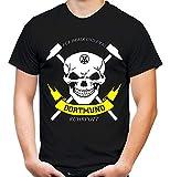 Dortmund Zeche Männer und Herren T-Shirt   Fussball Ultras Ruhrpott Fan (XL, Schwarz)