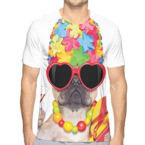 3D gedruckte T-Shirts, Tropische Ferien-themenorientierte Hundeflipflop-Sonnenbrille und Cocktail-exotisches Bulldoggen-Haustier