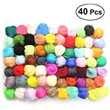 Healifty 40 Colores 5 g Merino Fieltro Lana Tops Colorido Suave Fibra de Lana DIY Herramientas
