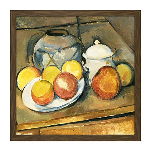 Paul Cezanne Straw Trimmed Vase Sugar Bowl and Apples Cropped Square Wooden Framed Wall Art Print Picture 16X16 Inch Holz Wand Bild Square Sugar Bowl