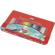 Faber-Castell 115931 - Estuche de metal con 36 lápices de color acuarelables, multicolor