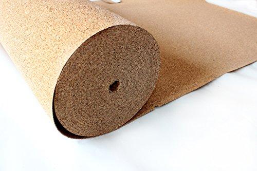 Rollenkork 2 mm Stärke, 30qm (30 x 1m) / Dämmunterlage / unter schwimmend verlegten Parkett- , Laminat- , und Teppichböden / wärmedämmende Wanduntertapete / erhöht den Gehkomfort