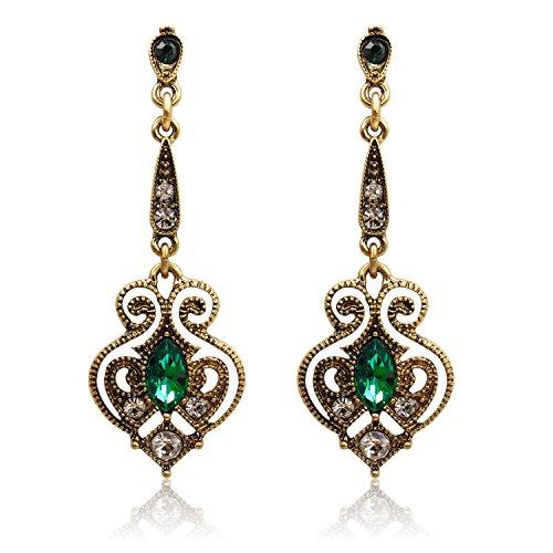Lares Domi Vintage Gold-tone Crystal imitación Incrustada Verde Turmalina Classic Georgian gota pendientes