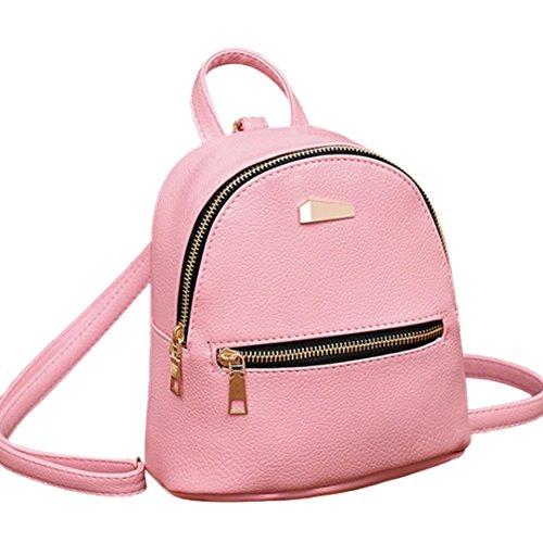 VJGOAL Damen Rucksack, Damen Mode Leder Schultertasche Schulranzen Reise Kleine Mini Beach Rucksack (Rosa)