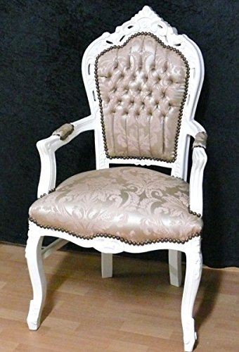 armlehner Housse de Style Baroque Blanc laqué Brillant Beige
