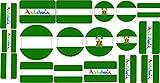 Pegatina Lote Banderas Andalucia 30 x 15 cm | Adhesivo de Facil Colocación | Pegatina Económica y Resistente
