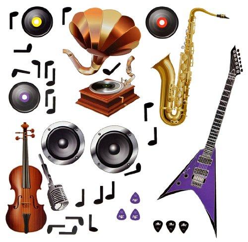 XXL Wandtattoo / Sticker - Instrumente Violine Saxophon Musik - selbstklebend Noten Gitarre Wandsticker Aufkleber (Gitarre Bilder Für Kinder)