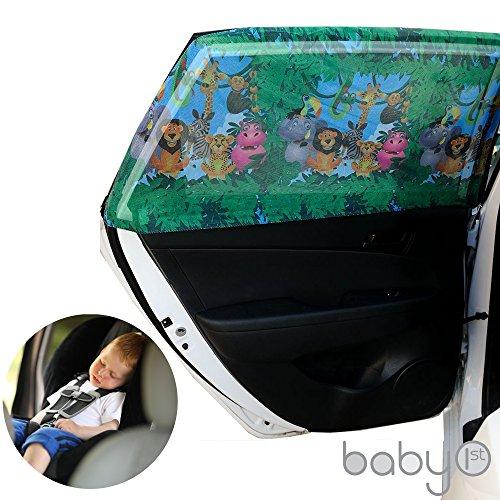 Große rechteckige Baby Auto Lampenschirm mit Tiere für hinten Seite Fenster bietet maximale UV-Schutz für Baby, Kinder und Kinder. Beste Qualität Mesh Material Sun Shades, 1Set (2Stück) (Große rechteckige) - Rechteckige Lampenschirm