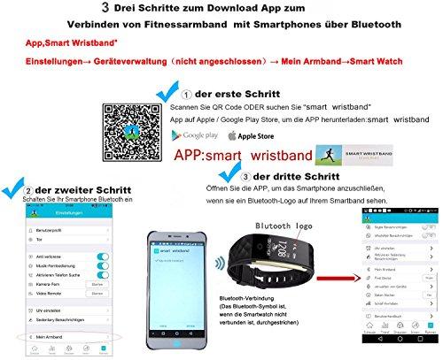 ROGUCI 0.96 Zoll OLED Bluetooth intelligenter Verfolger/Tracker, IP67 Wasserdichtes Tragbares Armband Wristband, Fitness Tätigkeits-intelligente Spurhaltung Armbinde mit Puls-Monitor, mehrfacher Bewegungs-Modus Fahrrad-Reiten , kompatibel mit androiden Smartphones 4.3 IOS iphones 7.0 BT 4.0 - 6