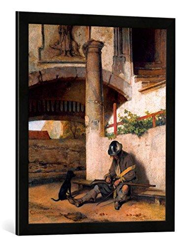 Gerahmtes Bild von Carel Fabritius Die Torwache, Kunstdruck im hochwertigen handgefertigten Bilder-Rahmen, 50x70 cm, Schwarz matt