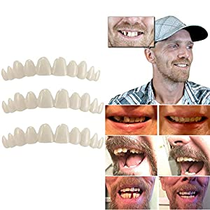 Cooljun 3PC Temporäre Zahn Kit Naturfurnier ersetzen fehlende Zähne Cover DIY sicher einfach Perfekte Smile Veneers Komfort Zähne Kosmetikfurnier, Eine Grösse passt allen