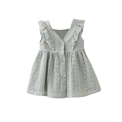 (Sonnena Ärmellos V-Ausschnitt Kinder Infant Kind Mädchen Spitze Gerafft Rüschen Elegant Prinzessin Button Hollow Dress Clothes Partykleid Mode Minikleid)
