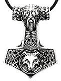 Thorshammer Anhänger aus 925 Sterling Silber mit runder Königskette aus 925 Sterling Silber, 2,5 mm dick, 45-65 cm lang