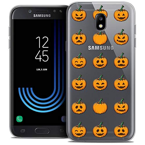 Samsung Galaxy J7 2017 J730 (5.5 Handyhülle Back case [Crystal Gel HD Sammlung Halloween Design Smiley Citrouille - Flexibel - Ultra Fin - Auf Wunsch frisch in Frankreich gedruckt] ()