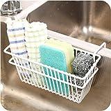 SKAIV Multi Functional Rust Proof Metal Brush Soap Sponge Holder for Kitchen Sink | Over the Door Cabinet Kitchen Cutlery Spo