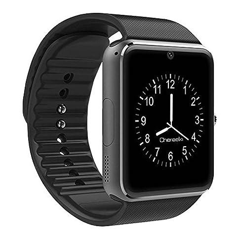 CHEREEKI Bluetooth Smart Watch Handy-Uhr Mit Kamera SIM / TF Card Slot Pedometer Touch Screen Smartwatch Armbanduhr Watch Phone für Android Smartphones (Gun