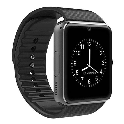 CHEREEKI Smarthwatch con Bluetooth Orologio Intelligente con Macchina Fotografica, SIM / TF Card Slot, Schermo touch, Contapassi, Ottimo Smartwatch per Smartphone Android