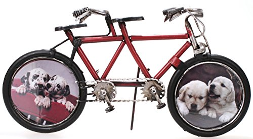 Fahrrad Tandem aus Metall 32 cm rot mit 2 Bilderrahmen Oldtimer Nostalgie Blech Modell Rad Velo -