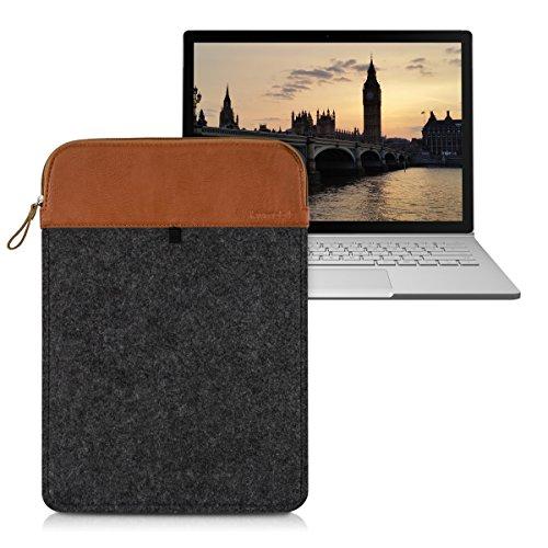kwmobile Laptoptasche Filz Sleeve für Microsoft Surface Book - Notebook Tasche Schutzhülle Laptop Case Hülle in Dunkelgrau