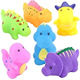 Megei Bath Toys, 6-Pack Little Dinosaur Squirts Fun Bath Toys for Kids, Assorted Colors