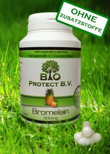 Bromelain 500 mg-120 Kapseln - 2.000 GDU - Rein ohne Füll- und Zusatzstoffe - Hochdosiert und hoch bioverfügbar - 120 Kapseln - Bio Protect - Ananas Enzym OHNE ZUSATZSTOFFE!