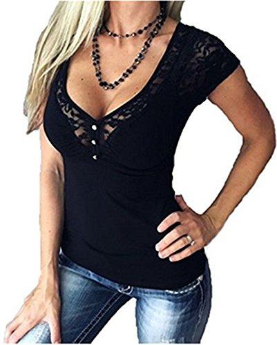 Jc.Kube Bohai Damen Sexy V-Ausschnitt T-Shirt mit Spitze