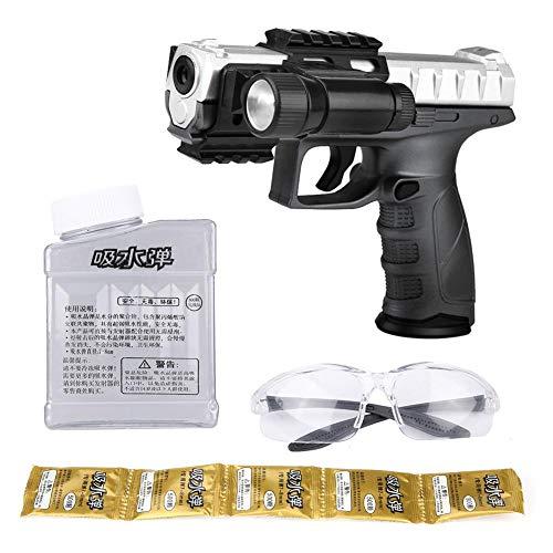 Perlas de Agua Pistola de Juguete de Agua Actividad al Aire Libre Juego de Tiro Suave Bala de Agua Pistola de Agua de Juguete para niños Regalo(Negro)