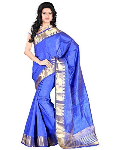 Roopkala Silks & Sarees Tassar Silk Saree with Blouse Piece (Dv-801 _Blue)
