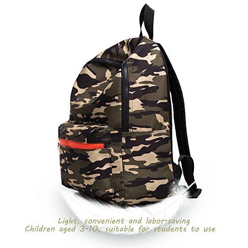 CAIWEI Borse scuola it army Camouflage Bambini Zaini per bambini Zaino leggero Zaino Daypack per ragazzi e ragazze (Verde militare) FGO7ihm6