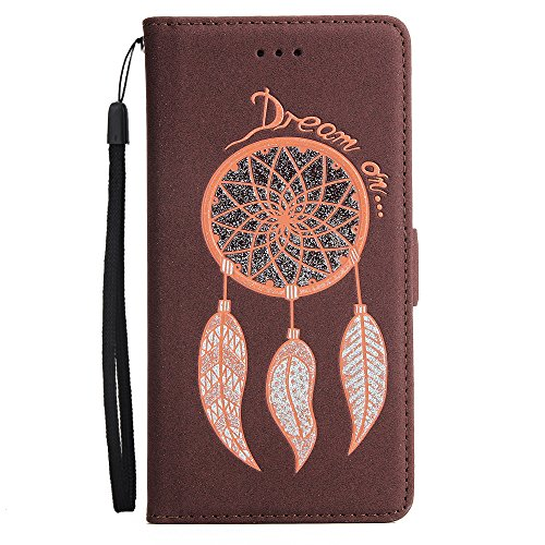 Cover per Apple iPhone 6 Plus/ 6S Plus Custodia,Herzzer Attraente sparkle bling glitter Rosa Campanula Dreamcatcher Perline colorate Sacchetto in Pelle PU Leather Design Book Wallet Cuoio style Shell, Beige