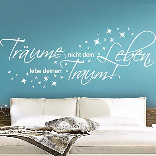 Wandora Wandtattoo Spruch Träume Nicht Dein Leben II Sterne Schlafzimmer Flur Sticker Aufkleber Wandaufkleber Wandsticker W1456