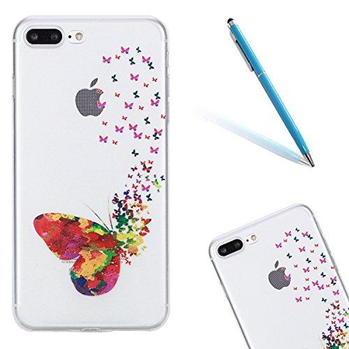 Super Clear Custodia in Soft TPU Silicone Apple iPhone 7Plus 5.5, CLTPY Creativo Cute Cartone Animato Painted Disegno Serie Ultra Sottile Leggero Flessibile Morbido Protettivo Bumper Case per iPhone  Farfalla