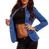 Damen Blazer in Uniform Stil Militäry, Farbe:Royalblau;Größe:36/S