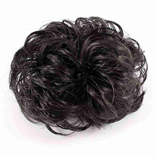 Ladies kurze lockige Perücke Pferdeschwanz-Haar-Riegel Stretchy Hair Brown (Brown Pferdeschwanz Perücke)