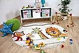 Savona Kinder Teppich Kids Bunte Tierwelt Beige Rund in 3 Größen