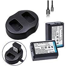 Heliomax 2x reemplazo batería npfw50 NP-FW50 FW50 1500mah +Base de carga dual para Sony A7 A7II A7r A7r II A7s A6000 A6100 NEX 3 NEX 5 NEX 6 NEX 7 A5000