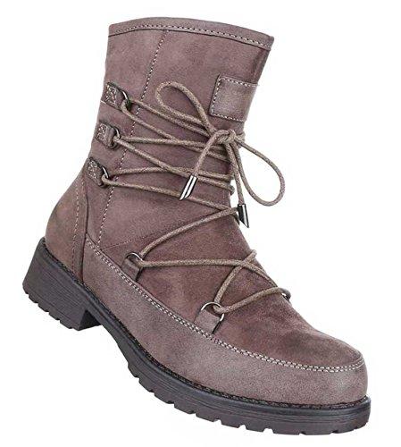Damen Boots Stiefeletten Schuhe Mit Schnürung Schwarz Grau Braun 36 37 38 39 40 41 Braun