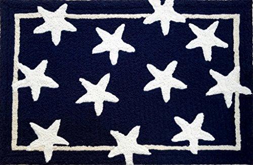 Marine-blau-schlafzimmer (Kleine Teppiche für Eingangsbereich, 60 x 91 cm, Marine-Design, Waschbarer Teppich, Schlafzimmer-/Badezimmer- und Küchenteppich, blaue Sterne)