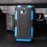 Cocomii Robot Armor HTC One M8/M8s Hülle [Strapazierfähig] Erstklassig Gürtelclip Ständer Stoßfest Gehäuse [Militärisch Verteidiger] Ganzkörper Case Schutzhülle for HTC One M8 (R.Blue)