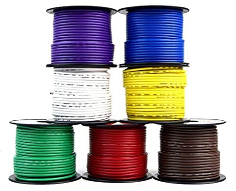 Trailer Light Cable Wiring For Harness 100ft spools 14 Gauge 7 Wire 7 colors by Audiopipe / Best
