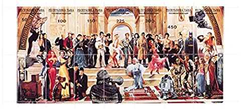 Lange Hollywood-Stars Stempel Blatt - mit Star Wars, Marilyn Monroe, Jessica Rabbit, John Wayne, Indiana Jones, Batman und viele mehr - 14 Superb Zustand Briefmarken für Sammler - MNH